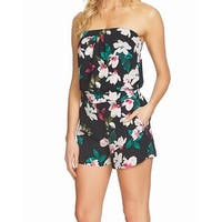 1. State Black Womens Size XL Floral Print Strapless Keyhole Romper