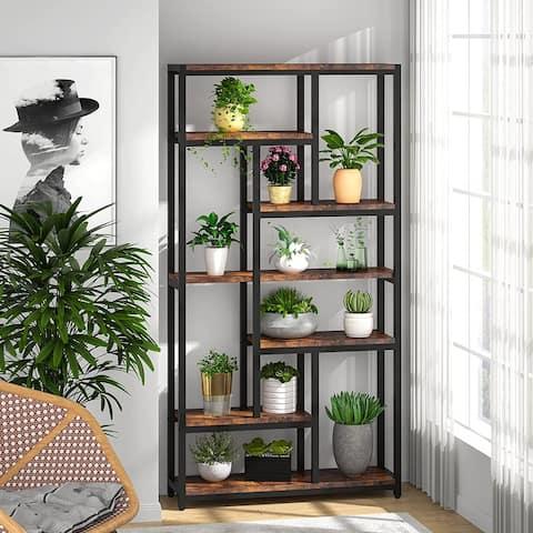 """Industrial 78.7"""" Tall Bookcase, 10-shelf Open Display Bookshelf Storage Organizer - 39.37(L) x 11.8(D) x 78.74(H)"""