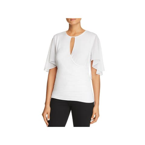 Elie Tahari Womens Devyn Blouse Faux Wrap Butterfly Sleeves