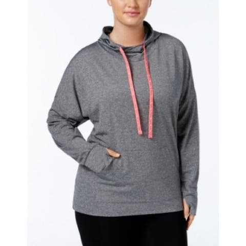 Material Girl Women's $54 Plus Cowl Neck Hooded Pullover Top Gray 1X