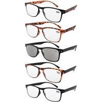 Eyekepper Ultrathin Flex 5-pack 80's Reading Glasses Include Sun Readers +1.0