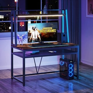 Link to Computer Gaming Desk with Storage Hutch and LED Light Similar Items in Desks & Computer Tables