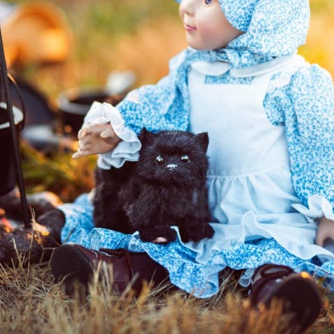 """Little House on the Prairie Realistic Black """"Susan"""" Green Eyed Kitty Cat Sized for 18 Inch American Girl Doll Accessory"""