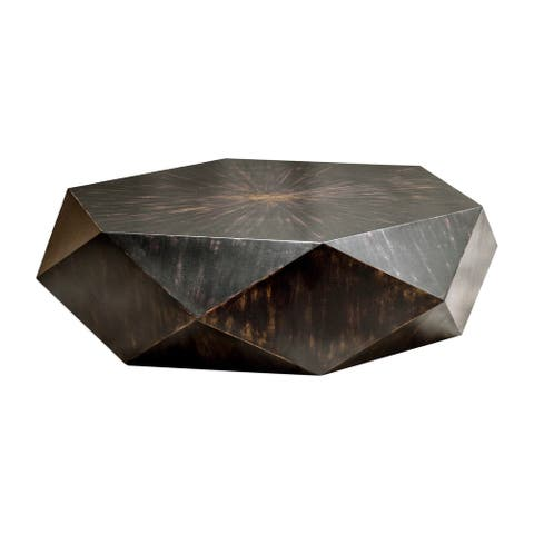 "Uttermost 25832 Volker 50"" Wide Mango Wood Coffee Table - Worn Black"