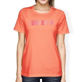 Survivor Breast Cancer Support Tshirt Womens Peach Cute Graphic Tee