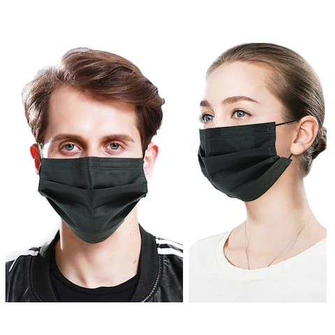 50 PcsFace Cover Masks 3Ply Layers with Earloop, Breathable Non-Woven - 50 Pcs Black