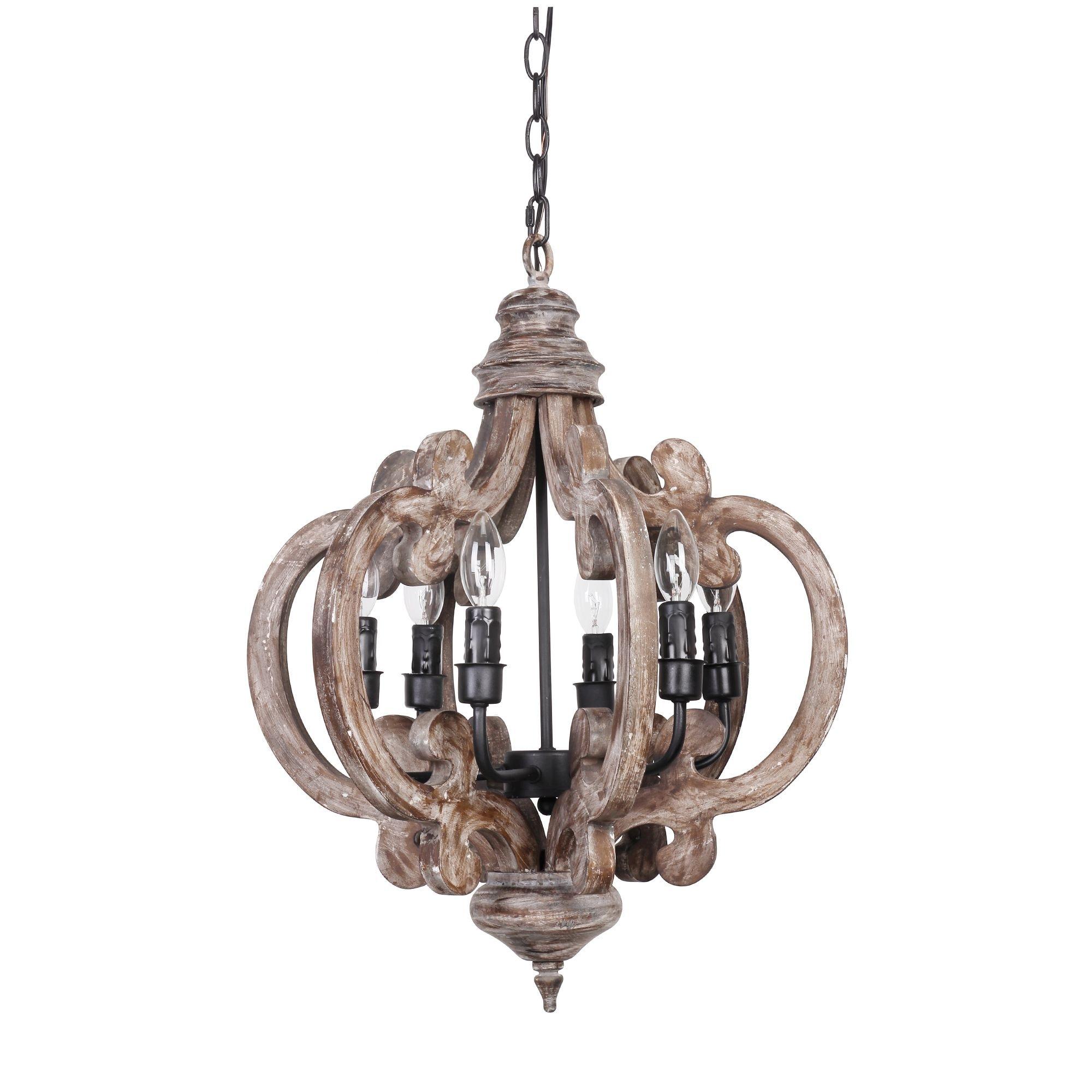 wood chandelier lighting. Distressed Antique White 6-Light Wood Chandelier Lighting E