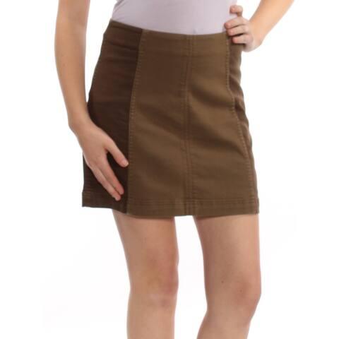 FREE PEOPLE Womens Green Mini Skirt Size: 10