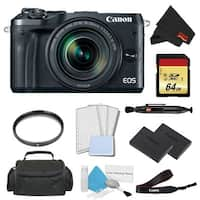 Canon EOS M6 Mirrorless Digital Camera with 18-150mm Lens Pro Bundle w/ 64GB Memory Card - Intl Model
