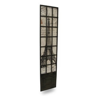 Eiffel Tower French Postcard Motif Metal Wall Panel - brown