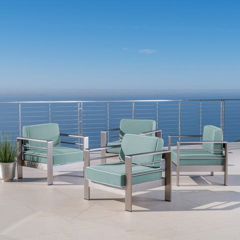 Cape Coral Outdoor Aluminum Club Chairs with Cushions (Set of 4) by Christopher Knight Home