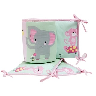 Link to Bedtime Originals Twinkle Toes Pink/Blue/Green Elephant 4-Piece Baby Crib Bumper Similar Items in Bumper Pads