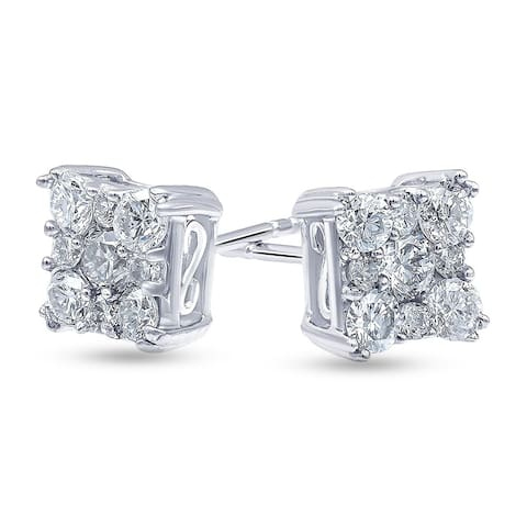 1.0 Carat Diamond, Shared Prong Set Sterling Silver Stud Earring In Lab Grown Diamonds (I, SI1) by Grown Brilliance