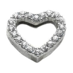 "3/4"" Slider Heart Charm Clear 3/4"" (18mm)"