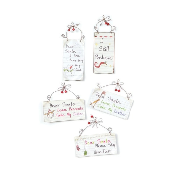 Club Pack of 20 Eco Country Dear Santa Note Tin Christmas Ornaments 7""
