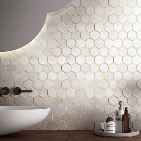 "TileGen. Natural Bianco 3"" x 3"" Honeycomb Hexagon Metal and Marble Mosaic Tile in Gold/White Wall Tile (10 sheets/9.7sqft.)"