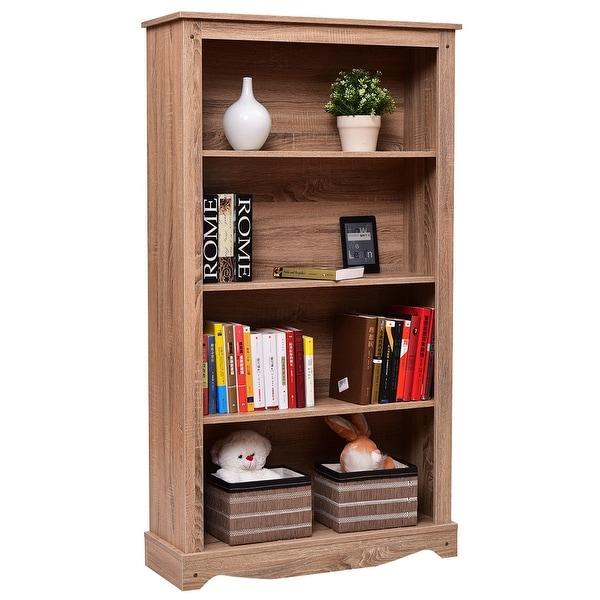 Costway 4 Tier Bookcase Cabinet Storage Organization Shelves Collection Bookshelf Shelf
