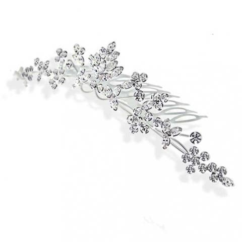 Leaves Flowers Wedding Crown Hair Accessories For Brides Women Crystal Bridal Hair Comb For Party Prom Pageant Birthday