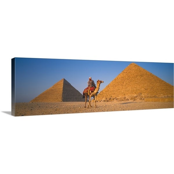 """The Great Pyramids With Camel Rider Giza Egypt "" Canvas Wall Art"