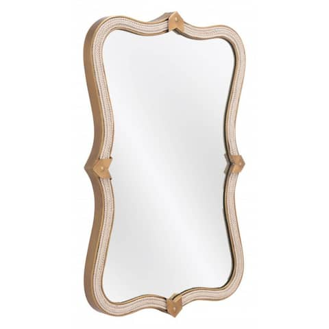 """Offex Hillegass Modern Wall Mirror with Painted Steel Frame - Gold - 2""""L x 19.7""""W x 31.9""""H"""