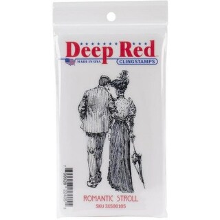 Deep Red Stamps Romantic Stroll Rubber Cling Stamp - 2 x 3