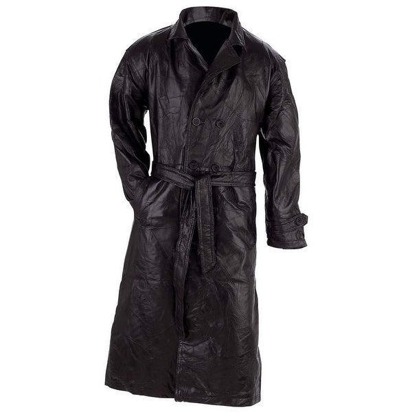 Giovanni Navarre Italian Stone Design Genuine Leather Trench Coat. Opens flyout.