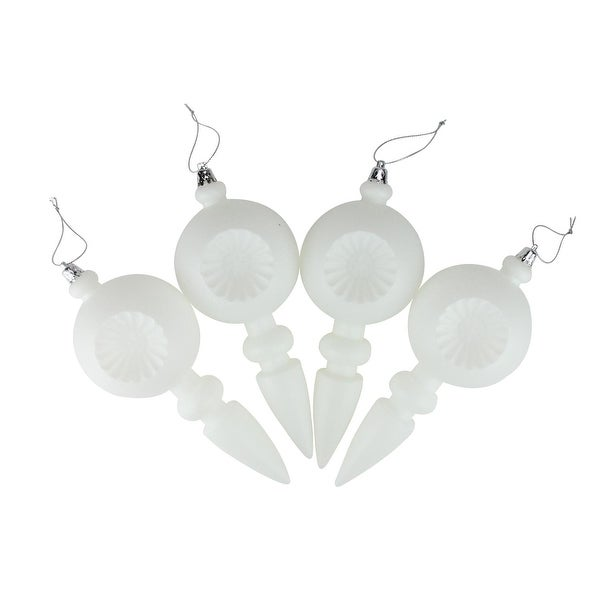 4ct Matte White Retro Reflector Shatterproof Christmas Finial Ornaments 7.5""