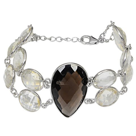 Smoky Quartz, Citrine Sterling Silver Pear Chain Bracelet by Orchid Jewelry