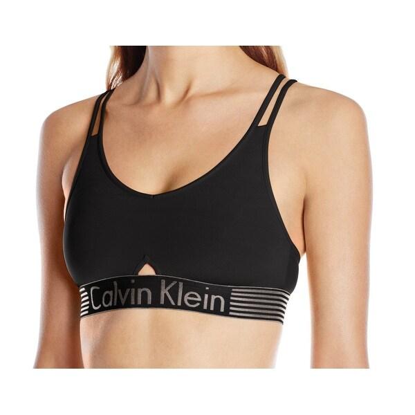 b4a6a5df233 Calvin Klein NEW Black Womens Size Large L Logo-Band Keyhole Sports Bra 518