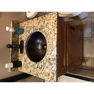 Unikwities 14.5 X 6.5 inch Round Undermount Bronze Copper Sink