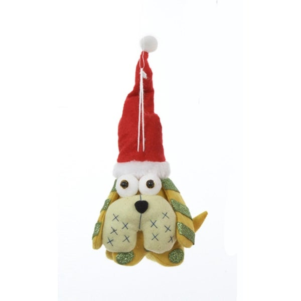 """6.75"""" Ugly Cuties """"Ernie"""" the Dog Plush Animal Christmas Ornament - YELLOW"""