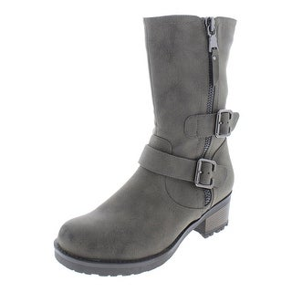 Cliffs by White Mountain Womens Birch Motorcycle Boots Faux Leather Mid-Calf - 7 Medium (B,M)