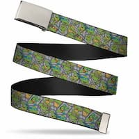 Blank Chrome Buckle Classic Tmnt Expression & Pose Turtle Shell Web Belt - S