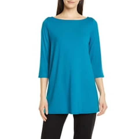 EILEEN FISHER Womens Teal 3/4 Sleeve Boat Neck Top Size 2XS