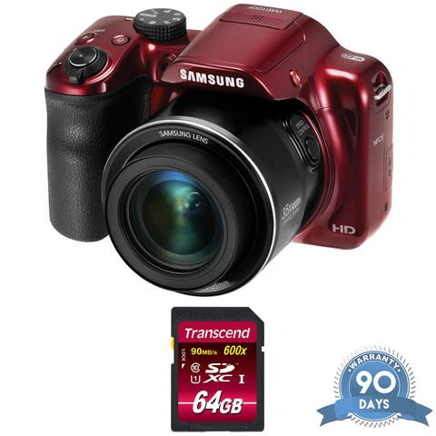 Samsung WB1100F Smart Digital Camera (Red) - with Memory Card -