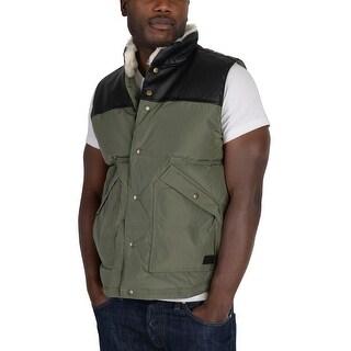Adidas Mens Utility Down Vest Olive Green - olive green/black/off white