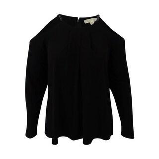 Michael Michael Kors Plus Size Cold-Shoulder Halter Top (2X, Black) - Black - 2x