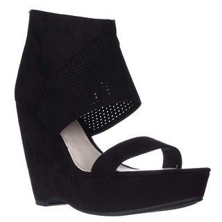 B35 Siren Platform Ankle Cuff Wedge Sandals - Black
