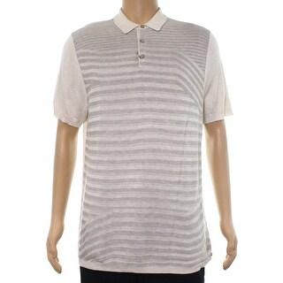 Alfani White Ivory Men Large L Stripe Texture Polo Silk Knit Shirt