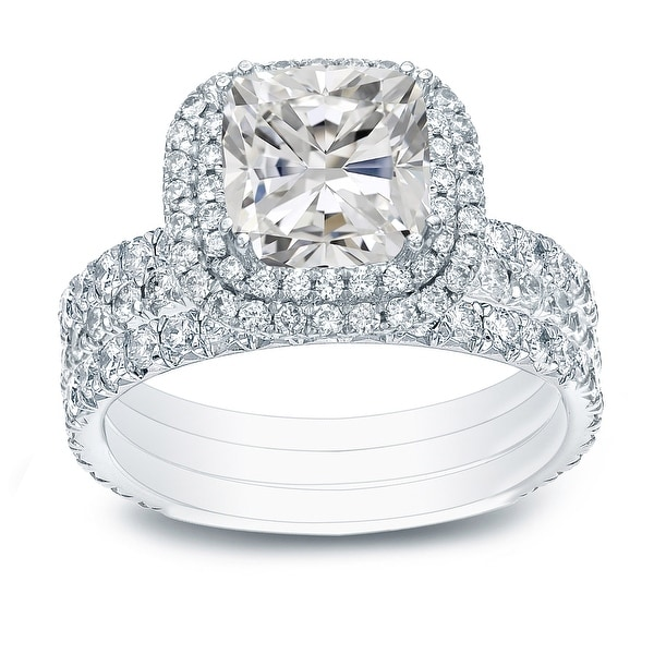 Auriya 2 1/2ctw Cushion-cut Halo Diamond Engagement Ring 3pc Set 14k Gold Certified. Opens flyout.