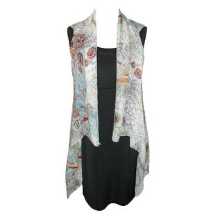 CTM® Women's Sheer Lightweight Paisley Vest Shawl - Grey - One Size