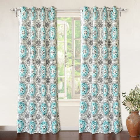 DriftAway Bella Medallion Printed Room Darkening Grommet Window Curtain Panel Pair