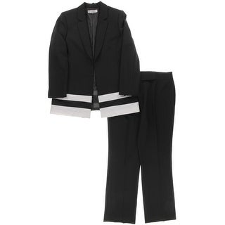 Tahari ASL Womens Pant Suit Crepe Colorblock - 14