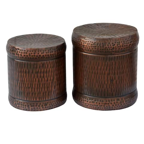 Preston Set of 2 Bronze Outdoor Stools