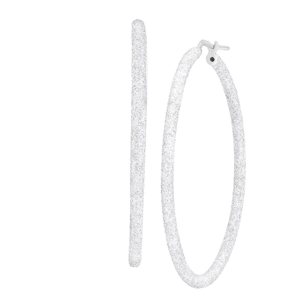 40 mm Round Glitter Hoop Earrings in Sterling Silver - White