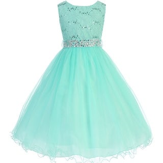 Glitters Sequined Bodice Double Layer Tulle Flower Girl Dress - Mint (More options available)