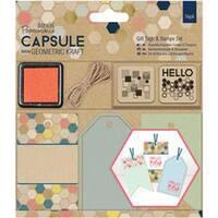 - Papermania Geometric Kraft Gift Tags & Stamps Set 16/Pkg