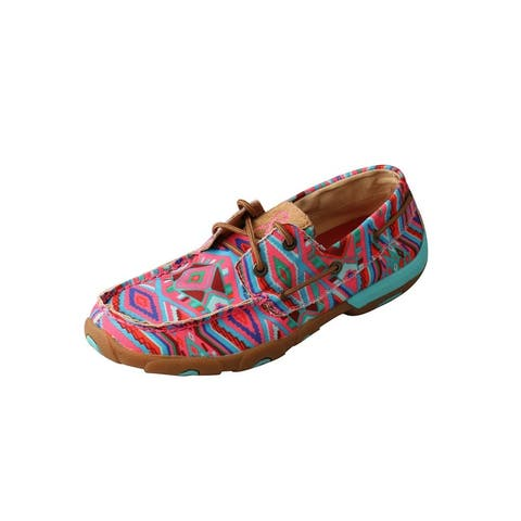 Twisted X Casual Shoes Womens Lace Driving Moc Aztec Pink