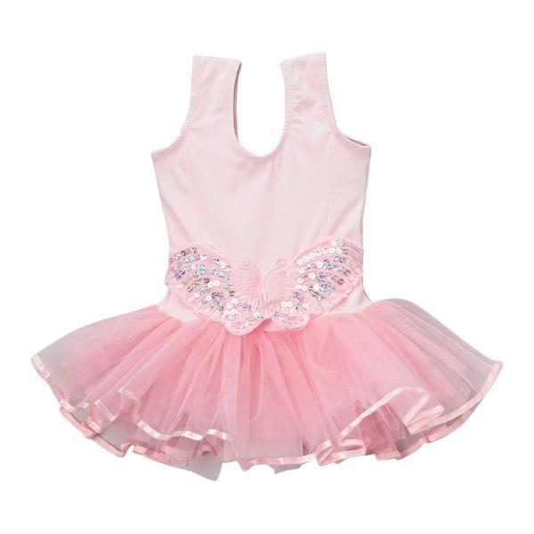 Girls Pink Butterfly Applique Skirted Ruffle Dance Leotard 12M-10