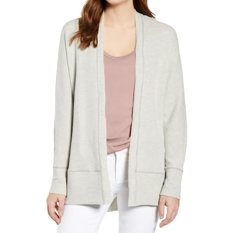 Caslon Womens Sweater Gray Size Large L Cardigan Open-Front Textured